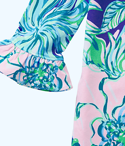 UPF 50+ Girls Mini Sophie Ruffle Dress, Multi Party Thyme, large 2