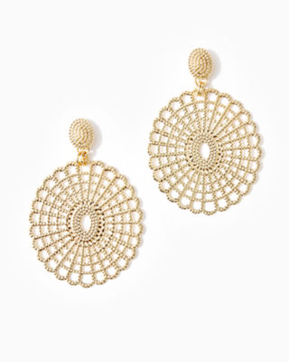 Lilly Lace Statement Earrings, Gold Metal, large