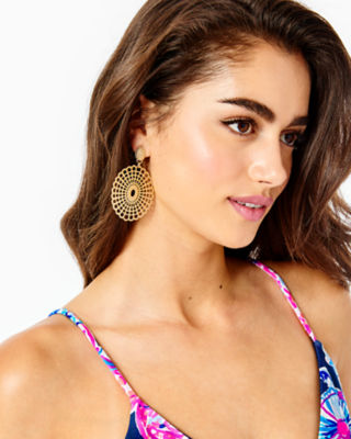 Lilly Lace Statement Earrings, Gold Metal, large 1