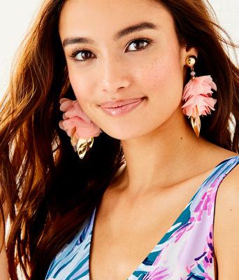 Cascading Petals Statement Earring, Pink Tropics Tint, large 1