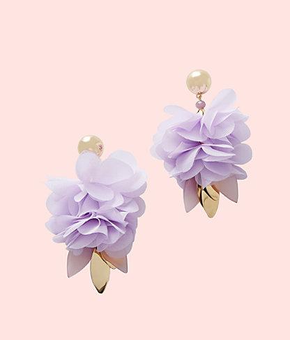 Cascading Petals Statement Earring, Purple Iris, large