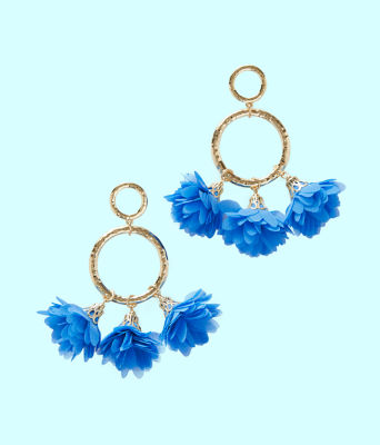 Cascading Petals Hoop Earrings, Coastal Blue, large
