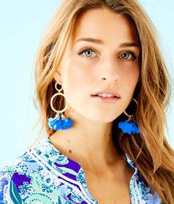 Cascading Petals Hoop Earrings, Coastal Blue, large
