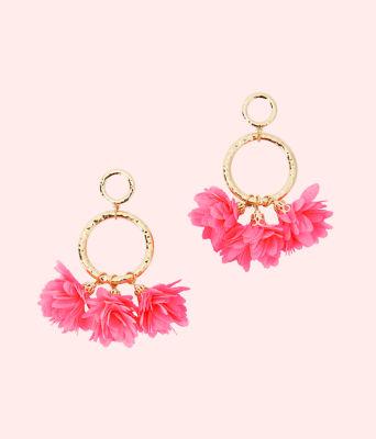 Cascading Petals Hoop Earrings, Pink Tropics, large 0