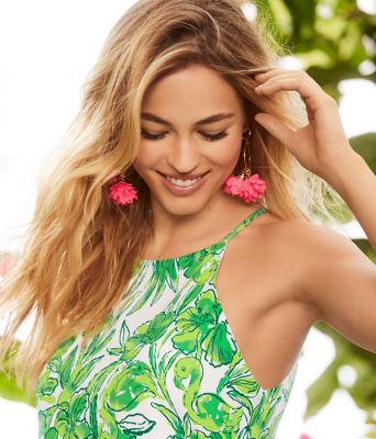 Cascading Petals Hoop Earrings, Pink Tropics, large 1