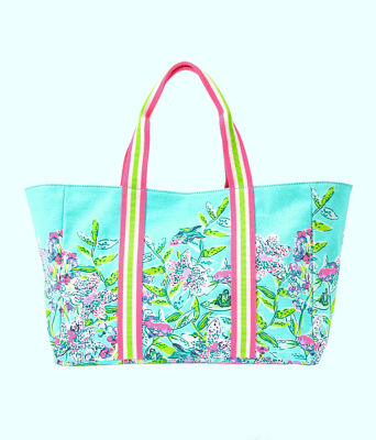Lillys Lagoon Tote Bag, Bali Blue Sway This Way Engineered Tote, large