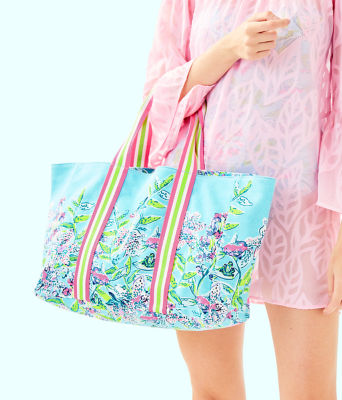 Lillys Lagoon Tote Bag, Bali Blue Sway This Way Engineered Tote, large 2