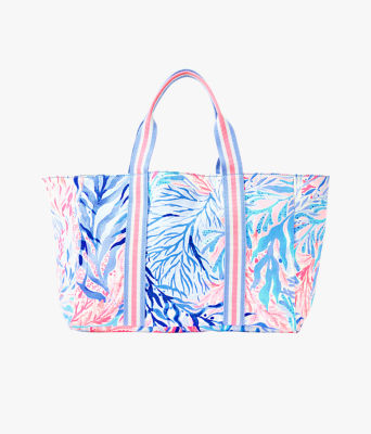 Lillys Lagoon Tote Bag, Crew Blue Tint Kaleidoscope Coral, large 0