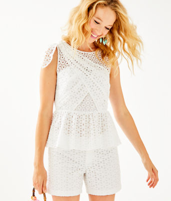 Diara Peplum Top, Resort White Oval Flower Petal Eyelet, large