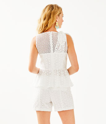 Diara Peplum Top, Resort White Oval Flower Petal Eyelet, large 1