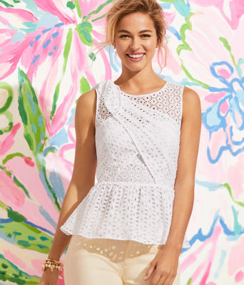 Diara Peplum Top, Resort White Oval Flower Petal Eyelet, large 3