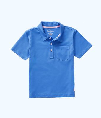 Boys Polo Shirt, Coastal Blue, large