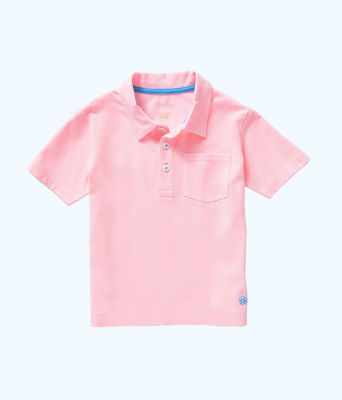 Boys Polo Shirt, Pink Tropics Tint, large 0