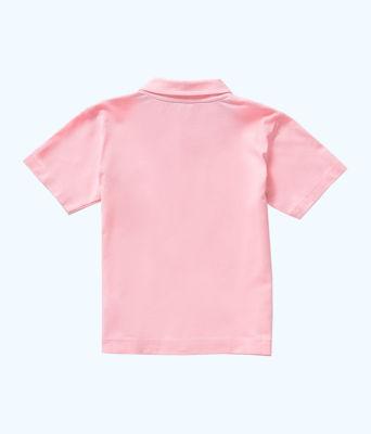 Boys Polo Shirt, Pink Tropics Tint, large 1
