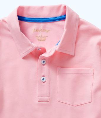 Boys Polo Shirt, Pink Tropics Tint, large 2