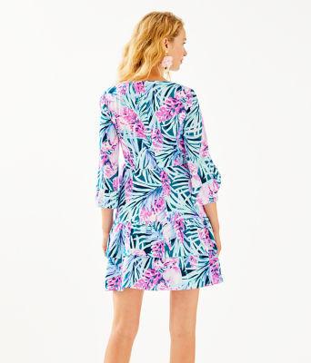 Laeda Stretch Wrap Dress, Mr Peacock Blue Tweethearts, large