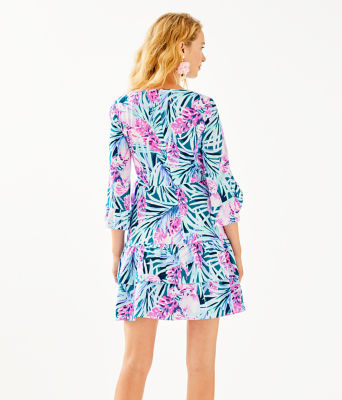 Laeda Stretch Wrap Dress, Mr Peacock Blue Tweethearts, large