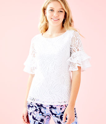 Lula Lace Top, Resort White Sea Swirling Lace, large