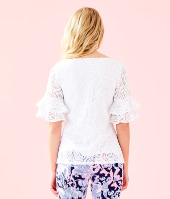 Lula Lace Top, Resort White Sea Swirling Lace, large 1