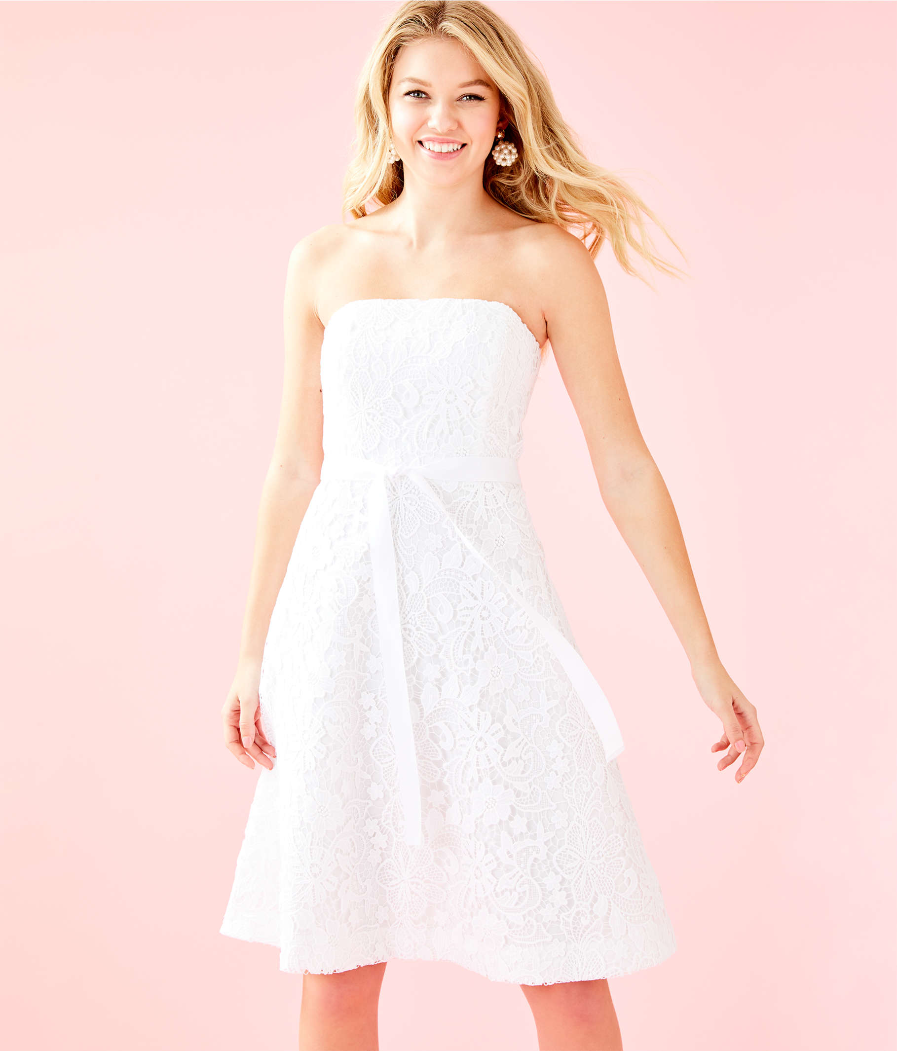 21816a735ebd White Lace Strapless Cocktail Dress