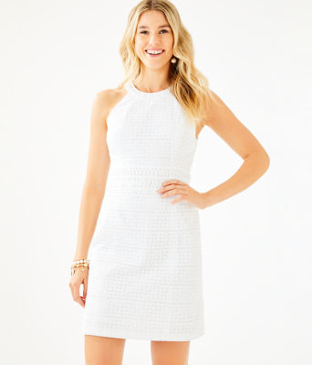 Ashlyn Shift Dress, Resort White Striped Eyelet, large