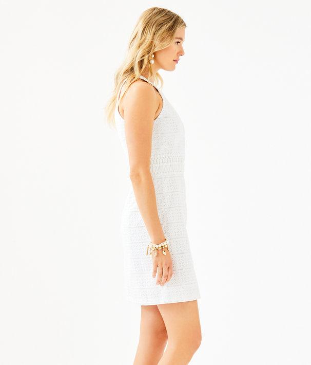 Ashlyn Shift Dress, Resort White Striped Eyelet, large