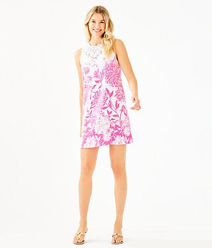 Nala Soft Shift Dress, Resort White Caliente Engineered Dress, large 3