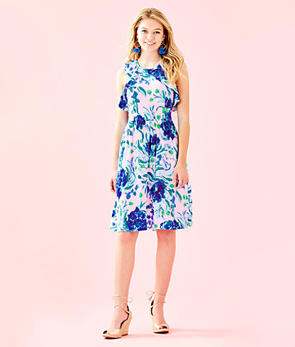 Rory Dress, Pink Tropics Tint Sweet Pea, large 3