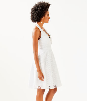 Willa Midi Dress, Resort White Oval Flower Petal Eyelet, large