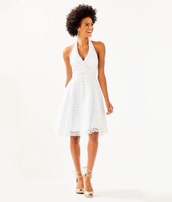 Willa Midi Dress, Resort White Oval Flower Petal Eyelet, large 3