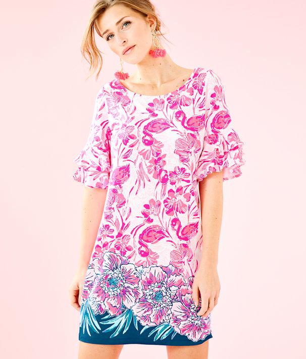 Lula Dress, Coral Reef Tint Flamingle Engineered Dress Front, large