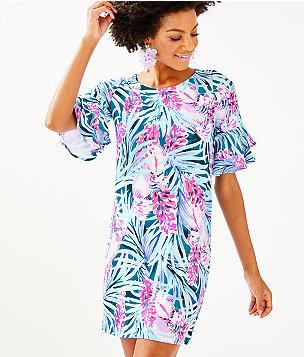 Lula Dress, Mr Peacock Blue Tweethearts, large