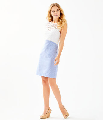 Maya Shift Dress, Coastal Blue Seersucker, large