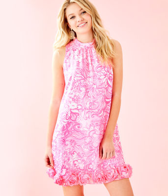 Linda Dress, Pink Tropics Tint Bunny Hop, large