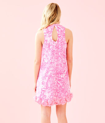 Linda Dress, Pink Tropics Tint Bunny Hop, large 1