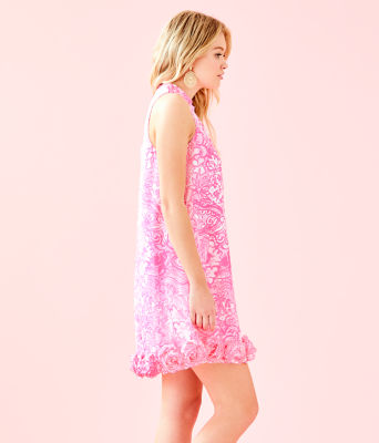 Linda Dress, Pink Tropics Tint Bunny Hop, large 2
