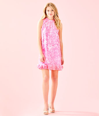 Linda Dress, Pink Tropics Tint Bunny Hop, large 3