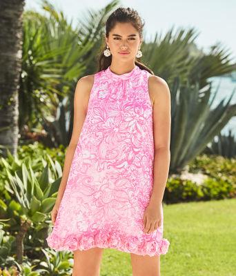 Linda Dress, Pink Tropics Tint Bunny Hop, large 4