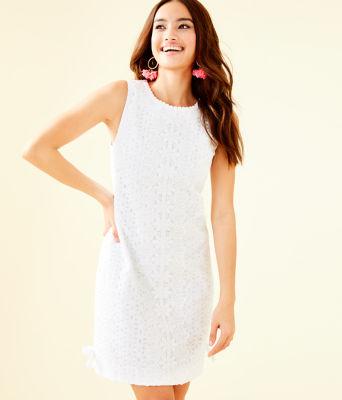 Melani Shift Dress, Resort White Oval Flower Petal Eyelet, large 0