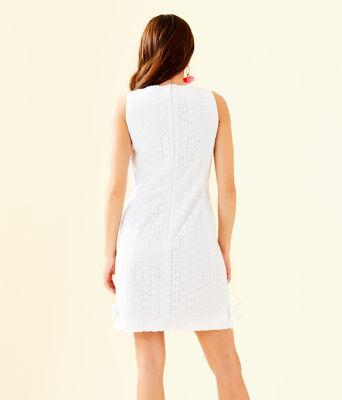 Melani Shift Dress, Resort White Oval Flower Petal Eyelet, large 1