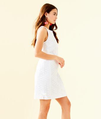 Melani Shift Dress, Resort White Oval Flower Petal Eyelet, large 2