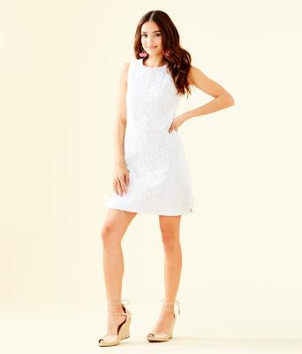 Melani Shift Dress, Resort White Oval Flower Petal Eyelet, large 3