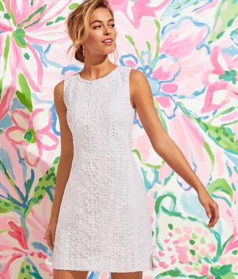 Melani Shift Dress, Resort White Oval Flower Petal Eyelet, large 5