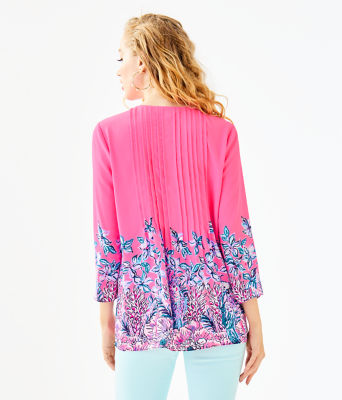 Marilina Tunic, Pink Tropics Lucky Lady Engineered Top, large