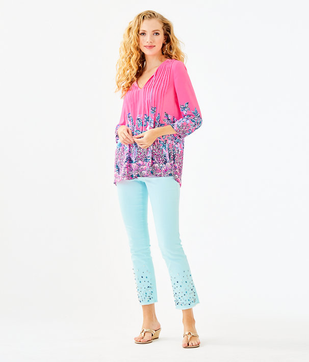 Marilina Tunic, Pink Tropics Lucky Lady Engineered Top, large