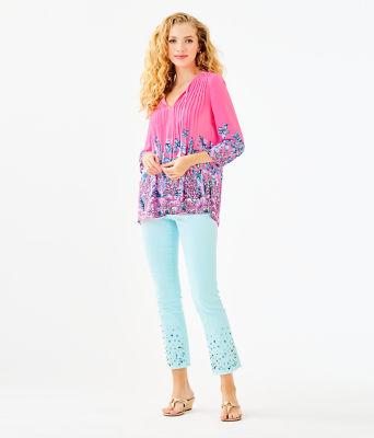 Marilina Tunic, Pink Tropics Lucky Lady Engineered Top, large 2