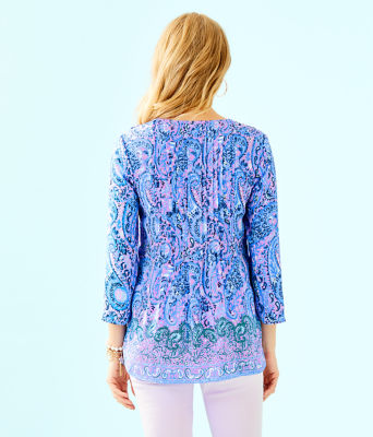 Marilina Tunic, Purple Iris Hello Sunshine Engineered Top, large