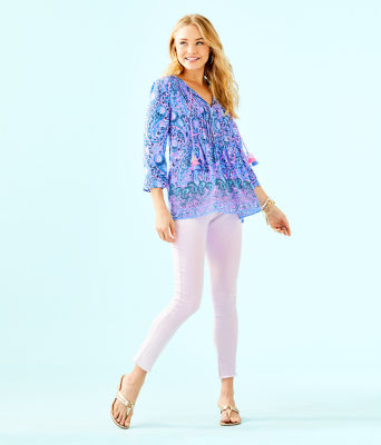 Marilina Tunic, Purple Iris Hello Sunshine Engineered Top, large 2