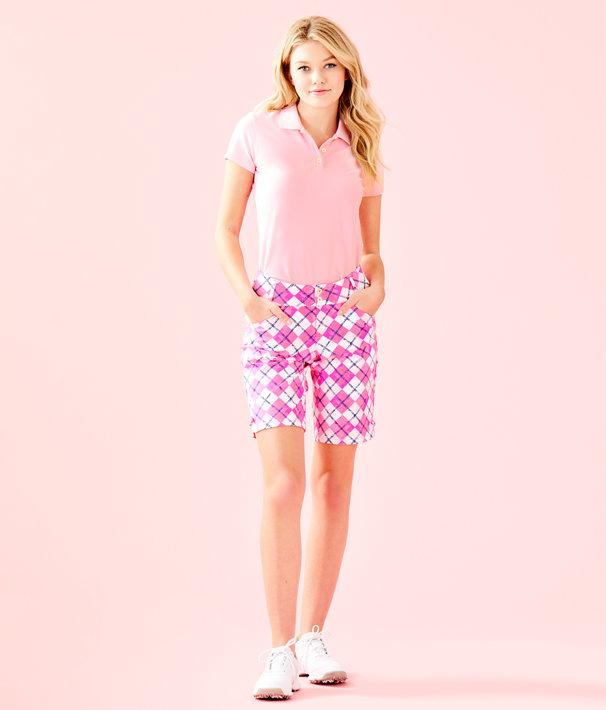 "UPF 50+ 10"" Fairway Performance Twill Bettina Golf Short, Pink Tropics Glow And Flow Argyle, large"
