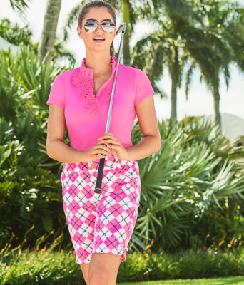 "10"" Bettina Golf Short - UPF 50+, Pink Tropics Glow And Flow Argyle, large"